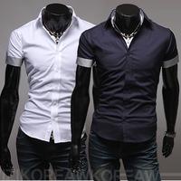 2014 cuff color block slim male casual short-sleeve shirt 5025 p35