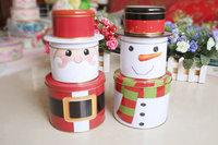 Christmas Day Snowman Combination Three Layers Tank Desktop Storage Decoration Set Iron Gift Box