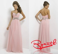 RBC 753 High Quality Crystal Long Evening Dresses 2014 New Prom Dress Pink Formal Gown