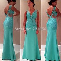 AJ-02 new sexy applique v-neck backless spaghetti strapmermaid  long chiffon evening dress party dresses vestidos de fiesta 2014