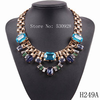 new cheap fashion 2014  gold plated chain statement pendant square crystal necklace jewelry for women
