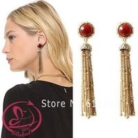 Women's fashion brand earrings DAISY original natural red agate vintage golden earring tassel earrings dangle earring for womem