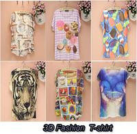 2014 new style fashion women t-shirt 3D Digital print Food Icecream Tiger Cotton camisas para homem short sleeve o neck 3D1