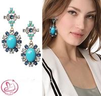 Women's fashion brand earrings DAISY Advanced synthetic gem glass crystal earrings heart Blue Earrings quality drop earrings