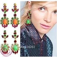 Women's fashion brand earrings JCR Luxurious texture color crystal earrings jewelry high quality drop earrings for woman