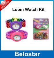 2014 Hot Fashion DIY Kids Loom Watch Kit Rubber bands Bracelet Set Kids loom bands Toys Free Shipping