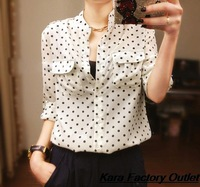 2014 new European style blouses women casual brief ladies Polka Dot chiffon long-sleeved shirt Blouse tops