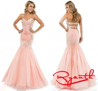 RBC 756 Elegant Mermaid Evening Dresses 2014 New Style Appliques Lace Beading Graduation Dress Long Prom Gowns