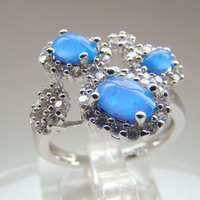man Fashion Jewelry Blue Opal Ring 2014 wholesale gold plated jewelry DR301403057R Free Shipping