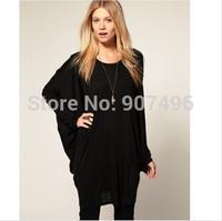 2014 fashion summer European butterfly sleeve loose long t shirt women novelty tops free shipping best selling