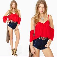 New 2014 Hot Sale Fashion Summer New sexy crop top Slim Solid Puff sleeve V-Neck Chiffon T-Shirt Women Free shipping
