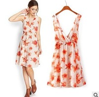 Fashion 2014New Summer Casual Cotton Above Knee Flower Print Off the Shoulder V-Neck  Loose Pleated Women Dress S~L6204-1112