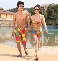 Cheap 11 patterns Shorts Men 2014 Beach shorts Plus size Swimwears Lovers short  women mens Board swimming shorts 2014 2pcs