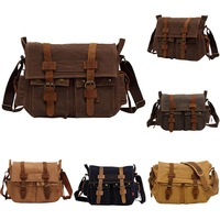 Mens Vintage Canvas Leather Satchel School Military Shoulder Messenger Bag Large