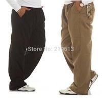 2014 Autumn Winter men fashion cotton high quality casual pants elastic waist fat XL-XXXL-4XL-5XL-6XL plus size trousers Calcas
