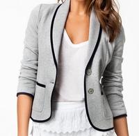 2014  Chic Women Knitted Blazer and Jackets Slim Suit three quarters sleeve coat One Button Brand ladies blazer plus size nz186