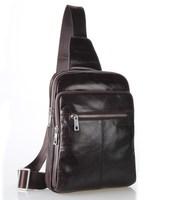 hotsale genuine leather pop men chest packs ,soft cowhide messenger bags dark brown color 7216C
