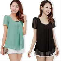 (WMF001) Cheapest S-XXXL New 2014 Women's O Neck Short Leaf Chiffon Shirt Tops Summer Women's Blouse Plus Size 8 Colors