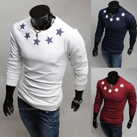 Free shipping hot sale 2014 new design men five-pointed star print o-neck t-shirt casual slim long-sleeve t-shirt men 3 colors