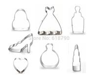 Free shipping  Cookie Cutter steel,Princess 7 set, mold for baking, cooking tools, handbag,dress,bottle,heels,heart  7pcs/lot