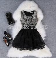 Free shipping New Fashion Novelty Lace Patchwork Dress Sleeveless Tank Slim Dress