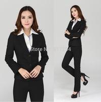 2014 New Fashion Slim Women's Business Work Wear Suit Jacket And Pant Formal Pantsuits Ladies Career Pants Suits Plus Size