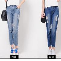 2014 Summer New Korean Fashion Denim Jeans Woman Loose Hole Pencil Pants Ninth pants