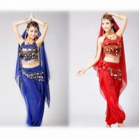 Belly Dance Costume Bra Top + Bloomer Trouser Pants + 128 Golden Coins Belt 3pcs