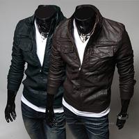 Man Motorcycle Jaquetas de couro Autumn Short Mandarin Collar PU Lether Jacket Male Leather Coat