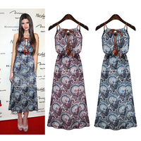 summer 2014 new casua fashion Sleeveles  Floral Print printing  Elastic Pinched waist Strap vest  Dress for  women  S--XL