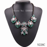 summer hot sale 2014 new design multi color available flower shape crystal statement necklace for girls