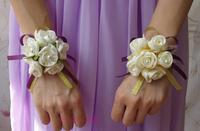 Free Shipping 6 Rose Flower heads Hand-sewn Ribbon Bride Wrist Flower Groom Corsage Wedding Bridesmaids Boutonniere