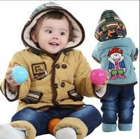 New Fashion Baby Autumn Winter Clothing Set Cartoon Baby Warm Down Coat Hoodies Padded Pants Baby Boys Clothing Free Shipping