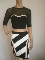 2014 New arrival mid sleeve mesh black and white two piece Bandage Dress HL Women Evening Party Prom Dress HL