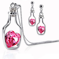 Wholesale fashion Don't fade beautiful women drunk pendant necklace/earring jewelry set