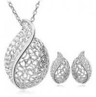 Wholesale fashion Don't fade beautiful women acacia pendant necklace/earring jewelry set