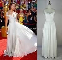 AJ-11 new elegant sexy crystal short sleeve v-neck backless long chiffon evening dress party dresses vestidos de fiesta 2014
