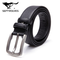 For SEPTWOLVES strap male genuine leather first layer of cowhide belt male pin buckle casual pants belt pure