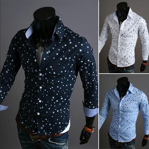 Shirt à moda do algodão Frete grátis Men especiais de design elegantes do ponto do vestido camisas manga comprida Mens