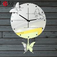 KEKE BRAND!Original design butterflies pendulum clock hang clock wall decoration Acrylic Mirror clock,Free shiping!