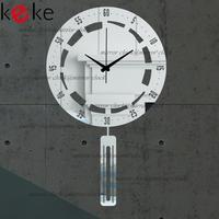KEKE BRAND!Original design 30cm diameter pendulum clock hang clock wall decoration Acrylic Mirror clock,Free shiping!