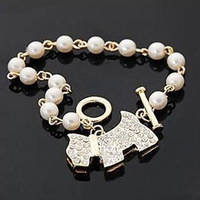 2014New Elegant Pearl Bead Charm Bracelets & Bangles Wholesale 18K Gold Plated Fashion Brand Jewelry For Women bijouterie