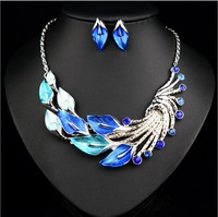 Fashion Crystal Elegant Peacock Jewelry Sets Colorful Statement Necklace Earing For Women Party Accessories 2014 Free Shipping