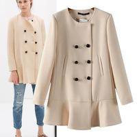 Free Shipping 2014 New European Style autumn/winter women elegance coat  O-neck long sleeve ruffles slim wool coat, WJ180353