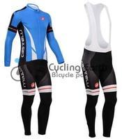 Free shipping! Castelli 2014 #3 long sleeve autumn bib cycling wear clothes bicycle bike riding cycling jersey bib pants set