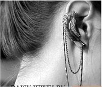 Free Shipping Retro Punk style leaves tassel ear bone clip stud earrings vintage earrings one ps price  6pcs/lot
