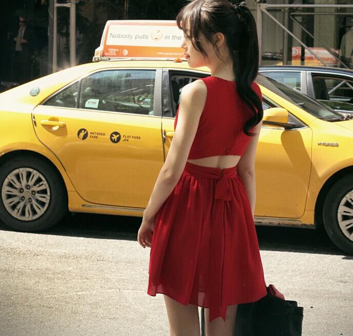 Sweet princess temperament bow dress sleeveless dress Luyao child(China (Mainland))
