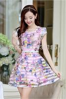 2014 Summer new female Korean cultivating Eugen yarn printing dress women