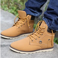 2014 New Style Male Martin Boots British Fashion Outdoors Pure Color Casual Shoes Men Lace-up Flats NX174