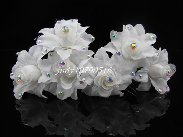 Free shipping 50PCS White Rose Silky Flower Crystal Bridal Wedding Prom Hair Clip Hair Pins H92(China (Mainland))